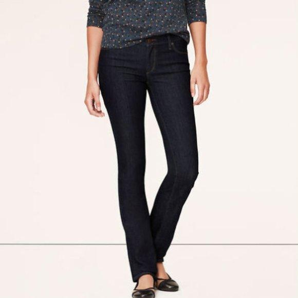 LOFT Dark Wash Modern Straight Jeans - 6